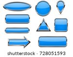 buttons set. blue shiny 3d... | Shutterstock .eps vector #728051593