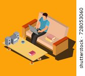 man working on laptop while... | Shutterstock .eps vector #728053060