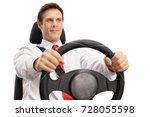 elegant young man driving... | Shutterstock . vector #728055598