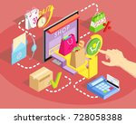 isometric concept of online... | Shutterstock .eps vector #728058388