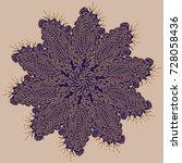 new symmetrical mandala in... | Shutterstock .eps vector #728058436