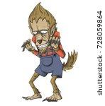 werewolf character vector and...   Shutterstock .eps vector #728059864