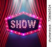 shining retro billboard... | Shutterstock .eps vector #728060524