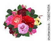 bouquet of red and pink roses.... | Shutterstock .eps vector #728074054