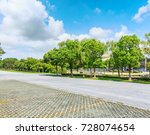 asphalt road and green tree in... | Shutterstock . vector #728074654