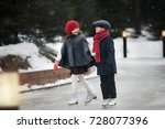 on the skating ring. cute boy... | Shutterstock . vector #728077396