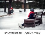 on the skating ring. boy is... | Shutterstock . vector #728077489