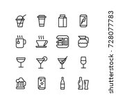 various drink and alcohol icons ... | Shutterstock .eps vector #728077783