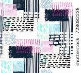 memphis seamless pattern in...   Shutterstock .eps vector #728082238