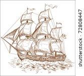 vintage sailboat | Shutterstock .eps vector #72808447