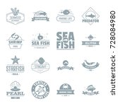 fish sea logo icons set. simple ... | Shutterstock .eps vector #728084980