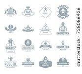 robot logo icons set. simple... | Shutterstock .eps vector #728086426