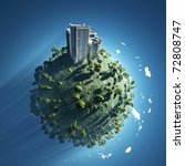building on green planet - stock photo