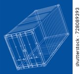 cargo container. wire frame... | Shutterstock .eps vector #728089393
