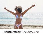 happy afro american woman in...   Shutterstock . vector #728092870