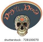 day of the dead. painted skull...   Shutterstock .eps vector #728100070