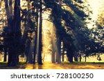 autumn city park with sunbeams | Shutterstock . vector #728100250
