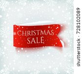 christmas sale   red realistic... | Shutterstock .eps vector #728102089