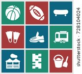recreation icons set. set of 9... | Shutterstock .eps vector #728104024