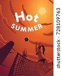 hot summer poster. fisheye.  | Shutterstock .eps vector #728109763