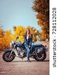 stylish beautiful girl in a... | Shutterstock . vector #728112028