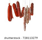 delicious sausages hanging on... | Shutterstock . vector #728113279