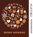 christmas card with beer symbols | Shutterstock .eps vector #728113714