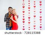 couple celebrating valentine day   Shutterstock . vector #728115388