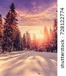 fantastic winter mountain...   Shutterstock . vector #728122774