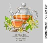 cup of vanilla tea and teapot... | Shutterstock .eps vector #728125159