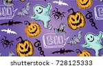 halloween hand drawn characters ... | Shutterstock .eps vector #728125333