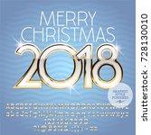 vector merry christmas greeting ... | Shutterstock .eps vector #728130010