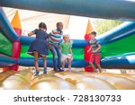 full length of friends playing... | Shutterstock . vector #728130733