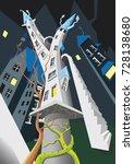 a strange dancing tower | Shutterstock .eps vector #728138680