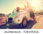group of happy people near a... | Shutterstock . vector #728145316