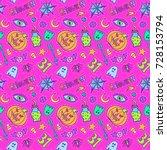 halloween patch badges pattern. ... | Shutterstock .eps vector #728153794
