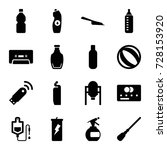 plastic icons set. set of 16... | Shutterstock .eps vector #728153920