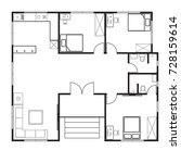 house floor plan 3 bedroom 2... | Shutterstock .eps vector #728159614