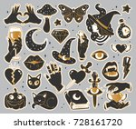 halloween set of patches with... | Shutterstock .eps vector #728161720