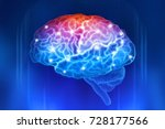 human brain on a blue... | Shutterstock . vector #728177566