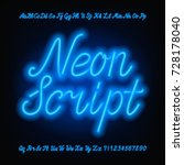 neon script alphabet font. blue ... | Shutterstock .eps vector #728178040