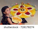 cute indian little girl hands... | Shutterstock . vector #728178274