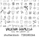 doodle sketch vacation icons... | Shutterstock .eps vector #728180266