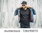 hipster handsome male model... | Shutterstock . vector #728190073