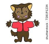cute halloween colored teen...   Shutterstock .eps vector #728191234