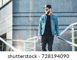 hipster handsome male model... | Shutterstock . vector #728194090