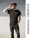 hipster handsome male model... | Shutterstock . vector #728194174