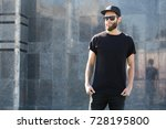 hipster handsome male model... | Shutterstock . vector #728195800