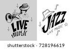 jazz emblem with a trumpeter... | Shutterstock .eps vector #728196619