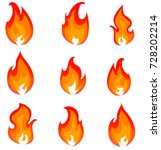 flame  fire  bonfire  cartoon... | Shutterstock .eps vector #728202214